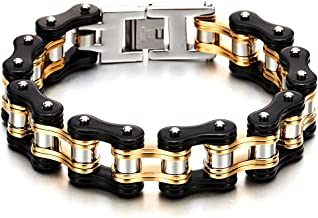 COOLSTEELANDBEYOND Heavy and Study Mens Fancy Bike Chain Bracelet Stainless Steel Silver Gold Black Tri-Tone High Polished