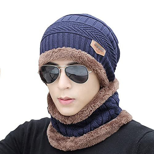 JFS Men s Winter Warm Double Layer Velvet Lined Knit Hat Beanie Scarf Set 5112f6cf9d1