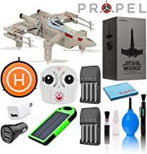 Propel Star Wars T-65 X-Wing Star Fighter Quadcopter Drone Deluxe Bundle with 8-AA Rechargeable Batteries, USB Wall and Car Charger, 50cm Drone Landing Pad, Solar Charged USB Power Bank, and More