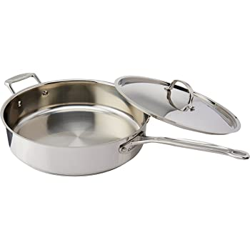 Cuisinart 733-30H Chef's Classic Stainless 5-1/2-Quart Saute Pan with Helper Handle and Cover, Silver