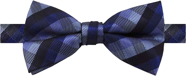 Jacob Alexander Men's Plaid Pre-Tied Banded Bow Tie