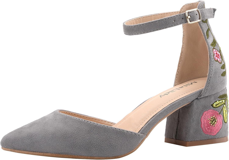 Mila Lady Novia Women's Block Low Heel Ankle Strap Pointy Toe D'Orsay Dress Pump,