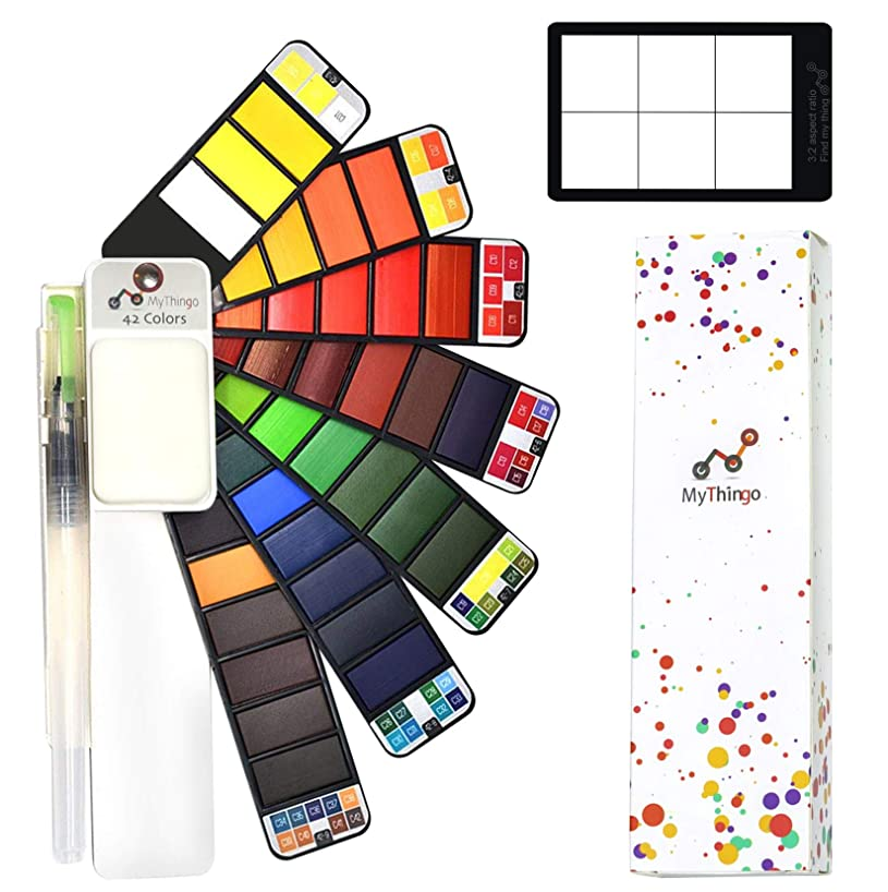 Watercolor Paint Set - 42 Assorted Colors with Water Brush. Artist Foldable and Portable Pocket Travel Kit for Outdoor Painting and Sketching | Art Supplies for Adults, Students, Kids