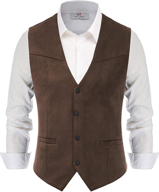 Paul Jones Men's Suede Leather Suit Vest Casual Western Cowboy Waistcoat Vest