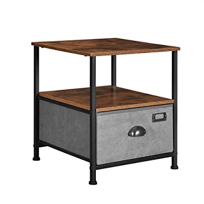 SONGMICS Nightstand, 3-Tier Bedside Table with Drawer, 2 Shelves, Fabric Drawer Dresser, Industrial End Table, for Hallway, Closet, Rustic Brown, Black and Gray ULVT02G