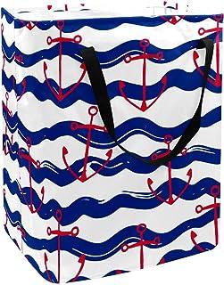 Panier à linge pliable avec poignées Motif ancre de bateau Rouge