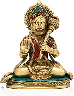 Collectible India Brass Lord Blessing Hanuman Statue Hindu Strength God Bajarang Bali Sitting Sculpture Home Office Decor(Size: 8 x 6.5 Inches)