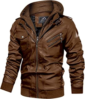 Sponsored Ad - MAGCOMSEN Men`s Stand Collar PU Faux Leather Jacket 6 Pockets Motorcycle Bomber Fall Winter Jacket with a R...