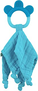 green sprouts Muslin Blankie Teether made from Organic Cotton | Soothes gums & promotes healthy oral development | Multiple textures massage gums, wet knots for extra relief, Easy to hold & chew