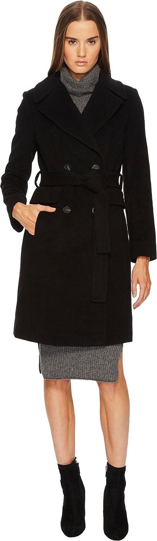 Diane Von Furstenberg Womens Double Breasted Tie Waist Wool Coat
