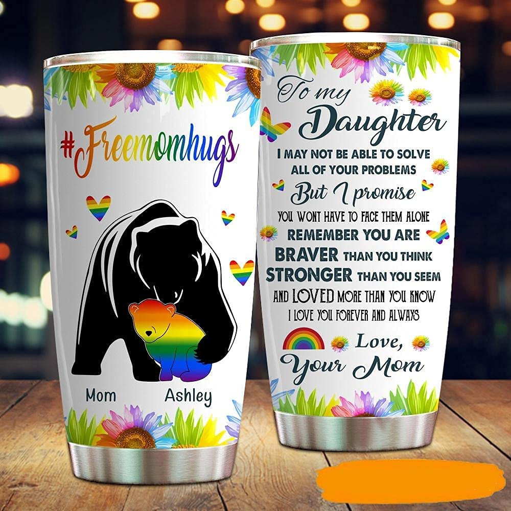 Personalized To My Bombing free shipping Daughter Tumbler LGBT Fresno Mall Gay Free Lesbi Mom Hug