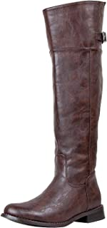 Breckelle's Womens Knee High Closed Round Toe Low Chunky Heel Riding Boot