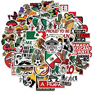 Mexican Pride Stickers |50 Pcs Calcomanías Mexicanas Waterproof Vinyl Decals for Hardhat Notebook Water Bottles Laptop Luggage Cup Mobile Phone Skateboard Décor