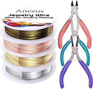 Anezus 7 Pcs Jewelry Pliers and Jewelry Beading Wire Tools Set Includes Needle Nose Pliers, Round Nose Pliers, Wire Cutter...