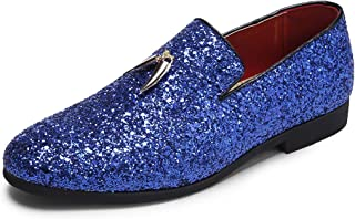 Mens Smoking Slipper Party Fringe Glitter Dress Shoes Non-Slip Loafers Shoes
