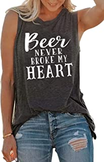 Beer Never Broke My Heart Tank Tee Women Funny Beer Saying Country Music Tank Top Casual Sleeveless Beach Vacation Tank