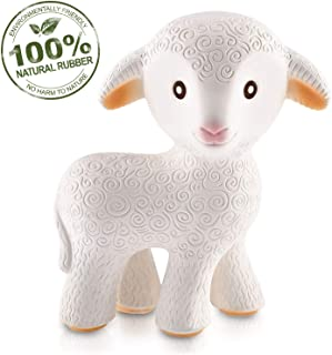 caaocho Pure Natural Rubber Baby Teether Toy – Mia The Lamb – Without Holes..