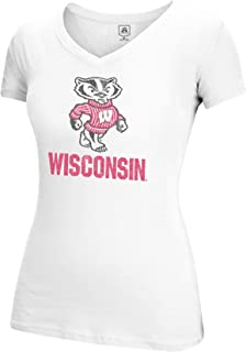 J America NCAA Wisconsin Badgers Women's Large Mascot Essential Tee, White, Small