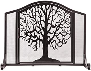 Plow & Hearth Small Tree Life Metal Fireplace Screen Single Hinged Door, Free Standing Spark Guard, 38 W x 31 H x 11.5 D, Black Gold Flecked
