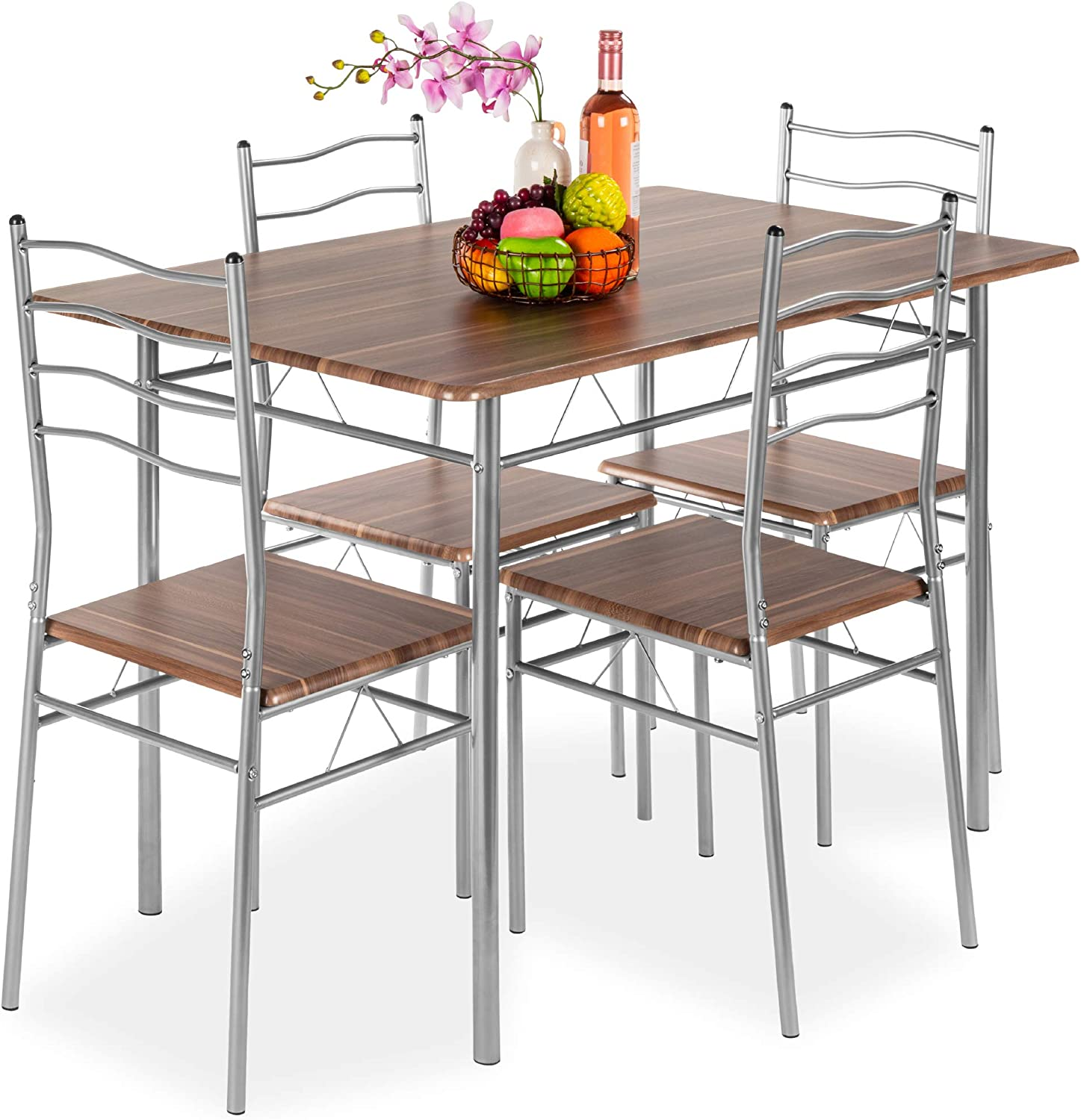 Best Choice Products 5-Piece 4ft Din Table Max 62% Chicago Mall OFF Modern Kitchen Wooden