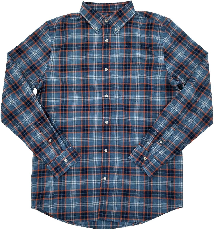 Mens Big & Tall Blue & Orange Plaid Button-Down Long Sleeve Shirt
