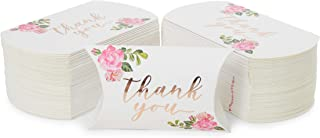Wedding Pillow Boxes, Rose Gold Foil Thank You Party Favors (5.15 x 1.35 in, 100 Pack)