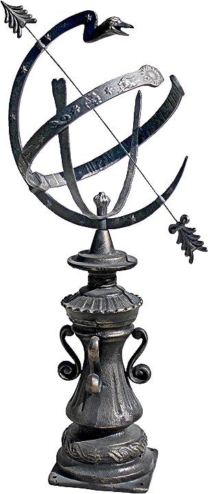 Sfera armillare autentica da giardino hyde park, bronzo, 37x62x101.5 cm design toscano sp1173