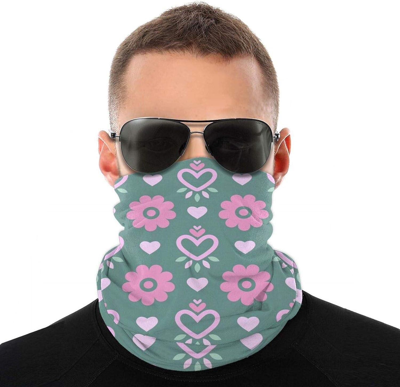 1pcs Magic Pink Flower Love Heart Face Mask, Neck Gaiter, Headwear, Sports Scarf, Bandana, Balaclava, Headband For Women And Men For Cold Weather Outdoor Sports