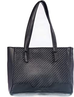 Khadim's Black Synthetic Texture Casual Tote Bag for Women