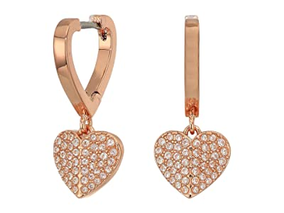 Kate Spade New York Heart To Heart Pave Huggies Earrings (Clear/Rose Gold) Earring