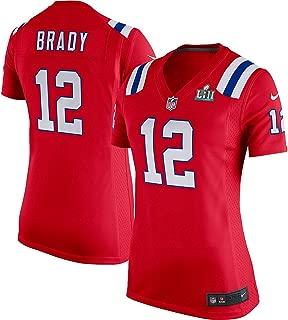 Nike Tom Brady England Patriots Women's Super Bowl LII Bound Game Jersey Red (XL)