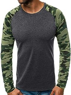 UFACE Camicia da Uomo,Maglie a Manica Lunga da Uomo Maglietta la Moda di Colore Solido Bavero Camicia a Maniche Lunghe Camicetta Superiore Plain Slim Maglietta Casuale degli Uomini t Shirt Uomo