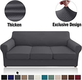 Granbest 4 Piece High Stretch Couch Covers for 3 Cushion Couch Thick Premium Sofa Slipcover Fitted Sofa Cover Furniture Protector for 3 Seat Sofas Dog Pet Proof Machine Washable (Large, Gray)