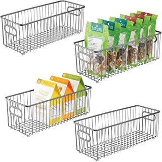 mDesign panier de rangement en métal (lot de 4) – boîte en métal flexible pour la cuisine, le garde-manger, etc. – long pa...