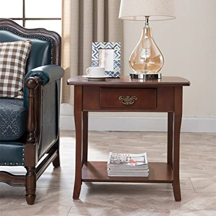 BJAB Solid Wood Side Table Living Room with Drawer Storage Corner Several Square Coffee Table Bedroom