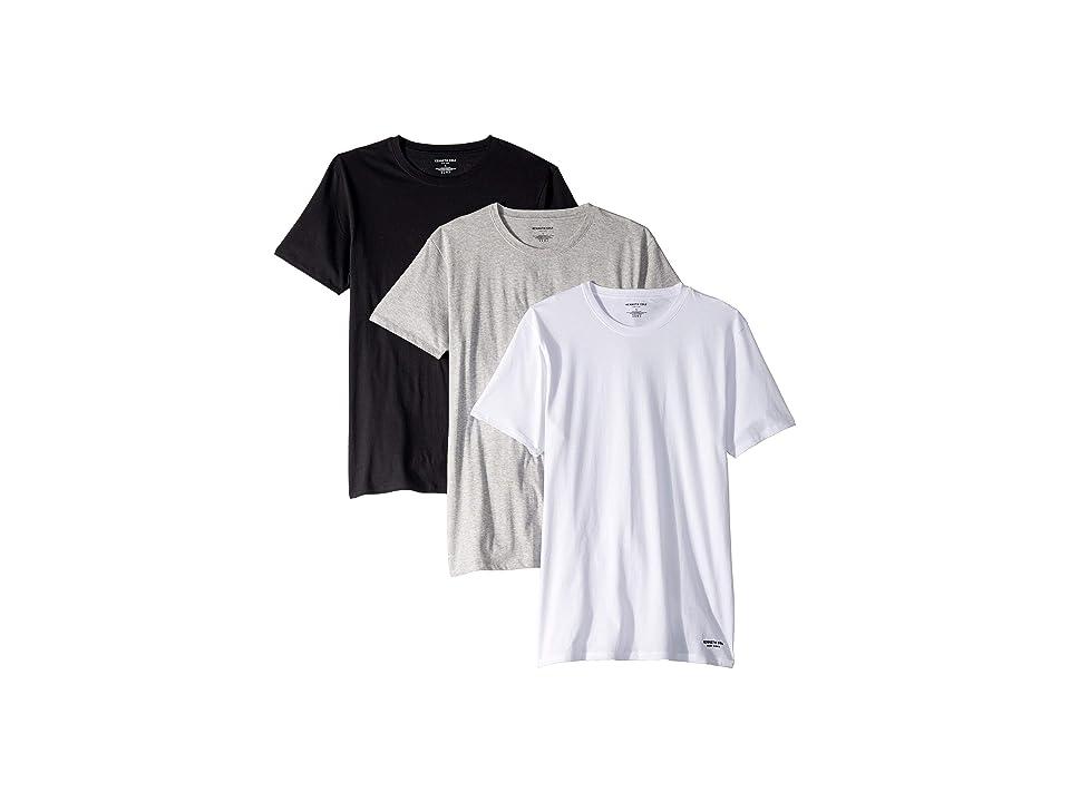 Kenneth Cole Reaction Slim Fit 3-Pack Crew Neck Tee (White/Light Grey Heather/Black) Men's T Shirt