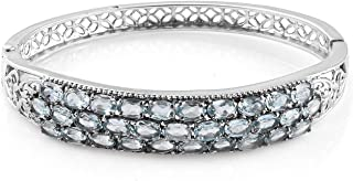 Shop LC Delivering Joy Stainless Steel Oval Sky Blue Topaz Bangle Cuff Bracelet Jewelry for Women Size 8 inch Ct 26.2