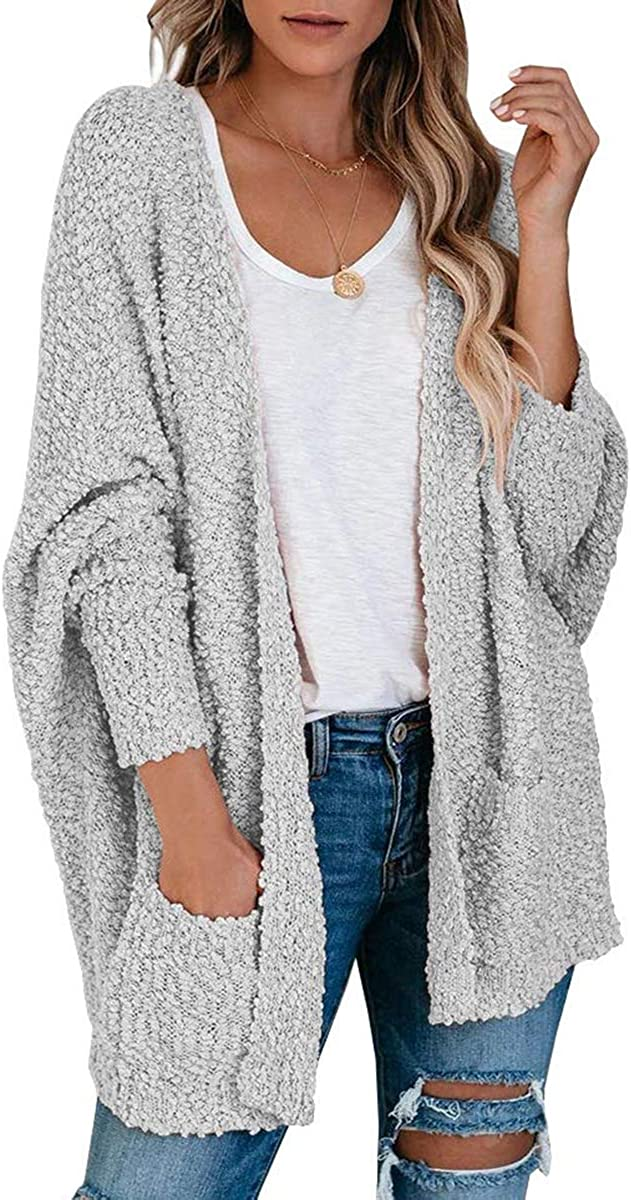 Women's Batwing Sleeve Fuzzy Shawl Sherpa Cardigans Oversized Chunky Knit Wrap Sweater Coat
