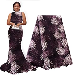 pqdaysun African Lace Fabric Swiss 5 Yards 2019 Nigerian Lace French Beaded Tulle Fabric Wax Fabric for Wedding Party