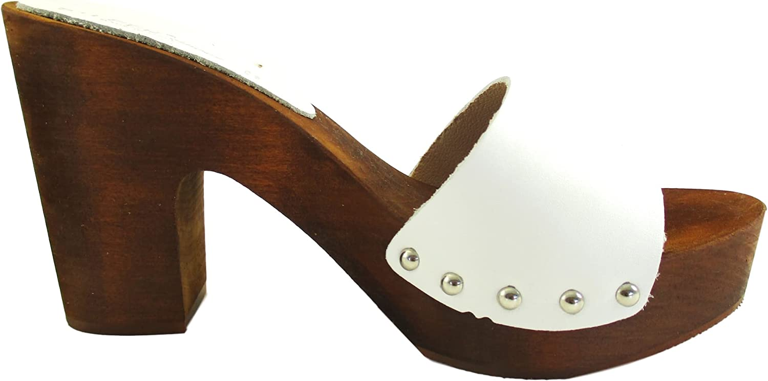 Silfer shoes Women's Clogs- Made in  Made Out of Real Wood and Leather -White color