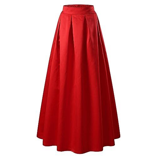 93a04fd2d5 VETIOR Women's Elastic High Waist A-line Flared Maxi Skirt