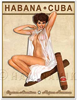 """Cuban Cigar Art Print - Vintage Style Pinup Girl in Lingerie Art Print Poster - Measures 18"""" high x 24"""" Wide (458mm high x 610mm Wide)"""
