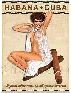 Cuban Cigar Art Print - Vintage Style Pinup Girl in Lingerie Art Print Poster - Measures 18