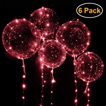 "Wedding Balloons with Red LED String Lights BoBo Balloon for Valentines Day Decoration Wedding Christmas Birthday and Party - Inflate to 20"" Balloon with 10ft 30 LED String Lights [6pack]"