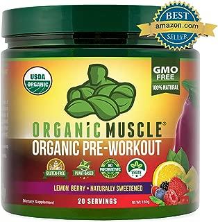 ORGANIC MUSCLE #1 Rated Organic Pre Workout Powder-Natural Vegan Keto Pre-Workout & Organic Energy Supplement for Men & Women- Non-GMO, Paleo, Gluten Free, Plant Based -Lemon Berry -160g