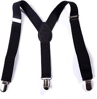 HDE Boys Solid Color Suspenders Kids Adjustable Elastic Y Back with Metal Clips