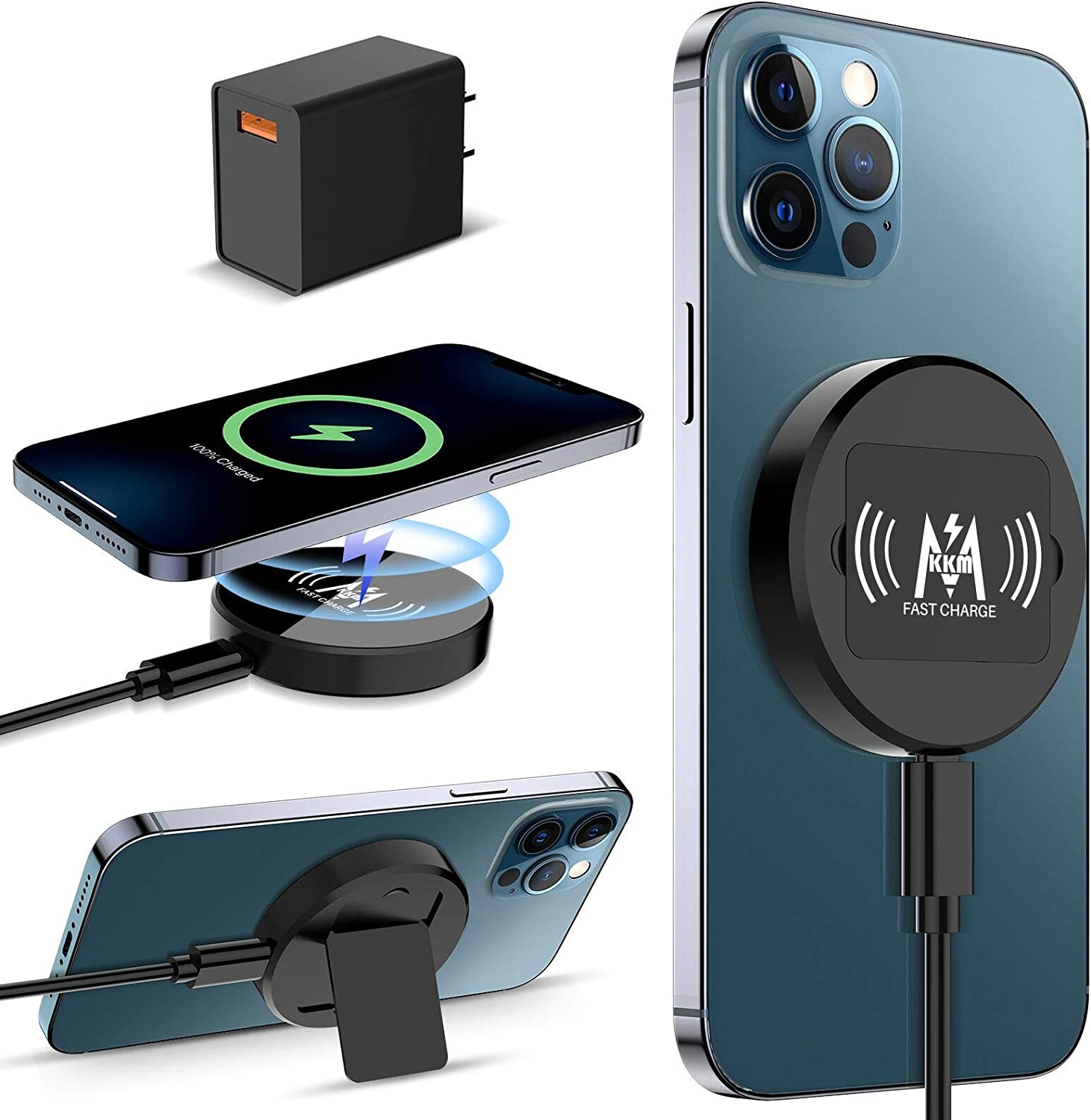 KKM Magnetic Wireless Charger, Compatible with MagSafe Charger, 15W Fast Charging Pad for iPhone 12/12 Pro/12 Pro Max /12 Mini AirPods Pro (QC 3.0 Adapter Included)