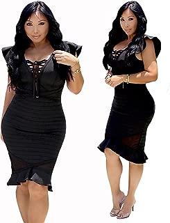 Wow Couture Ruffle Sleeve Peplum Bandage Dress Midi Bodycon