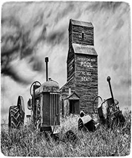 YOLIYANA Industrial Decor Various Blanket,Old 60s Abandoned Tractor in The Farm in Central Canada Nostalgic Machinery Elements Image for Living Room,49'' W x 59'' H