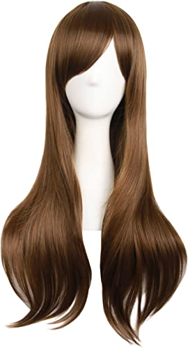 "MapofBeauty 28""/70cm Women Side Bangs Long Curly Hair Cosplay Wig(Brown)"